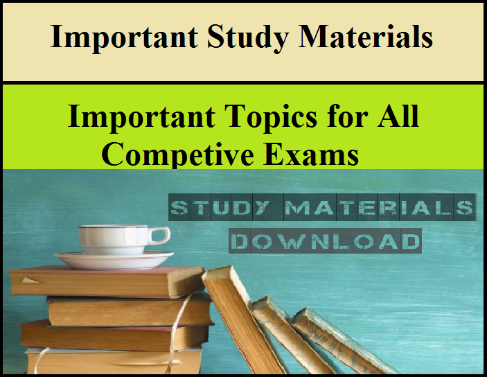 Important Study Materials Pdf for all Competitive Exams | Exams Daily