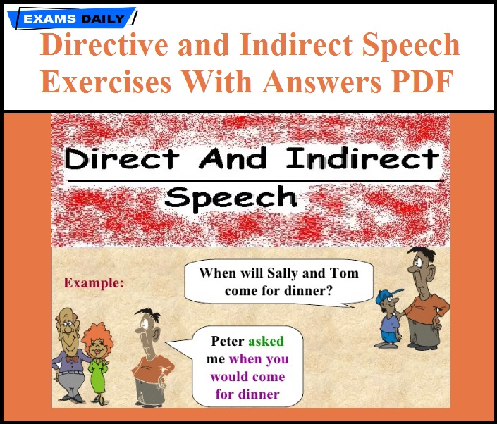 Direct and Indirect Speech Exercises With Answers PDF | Exams Daily