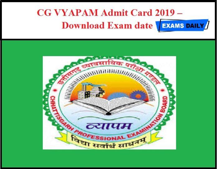 CG VYAPAM Assistant Programmer Admit Card 2019