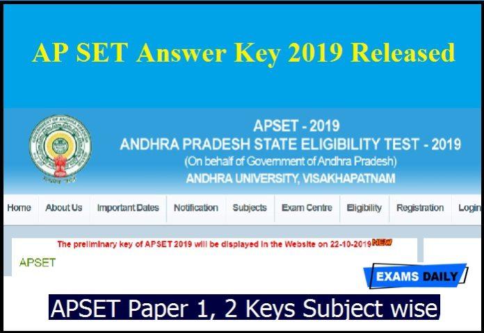 AP SET Answer Key 2019 Released