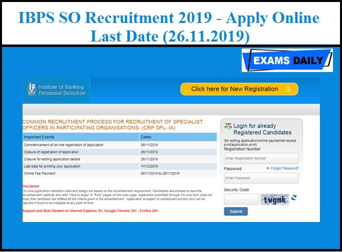 IBPS SO Recruitment 2019 - Apply Online Last Date (26.11.2019)