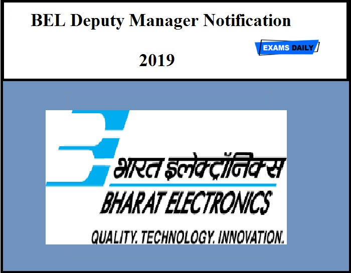 BEL Deputy Manager Notification 2019