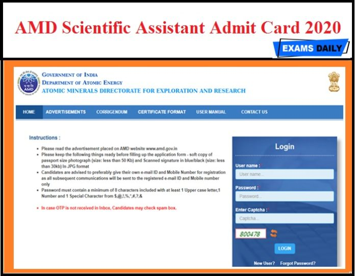 AMD Scientific Assistant Admit Card 2020 OUT