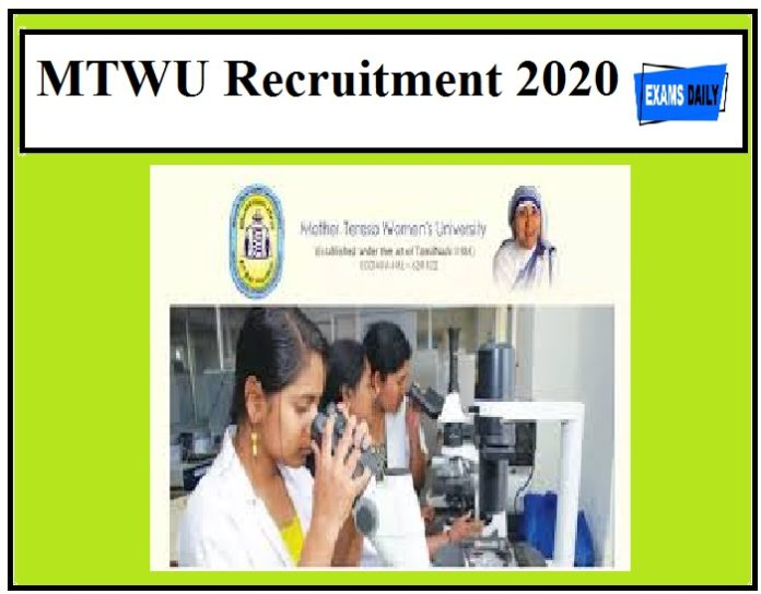 MTWU Recruitment 2020 Out – Walk in Interview