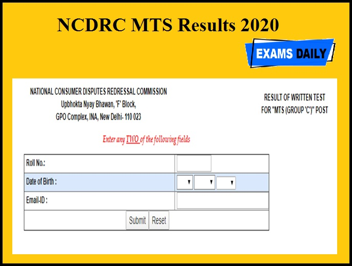 NCDRC MTS Results 2020