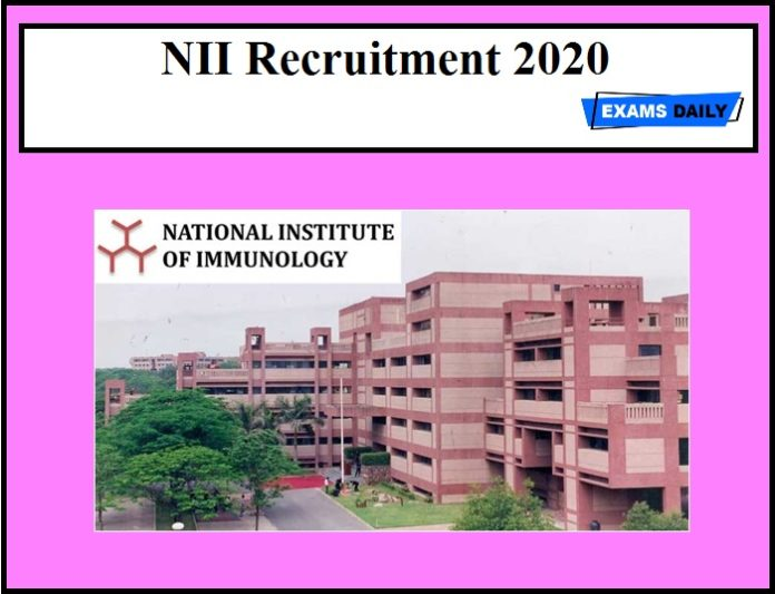NII Recruitment 2020 OUT – 31 Vacancies