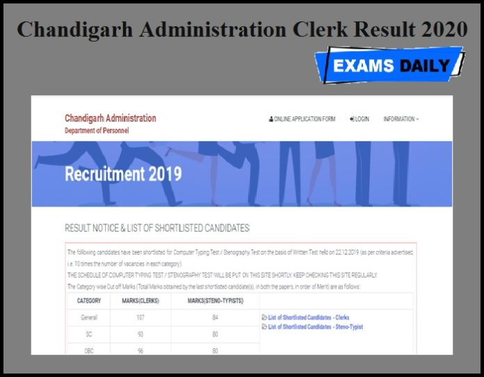 Chandigarh Administration Clerk Result 2020 Out – Download Stenotypist Cut off Marks