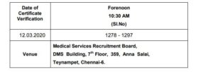 TN MRB Lab Technician Gr –II DV Date 2020 (Out)