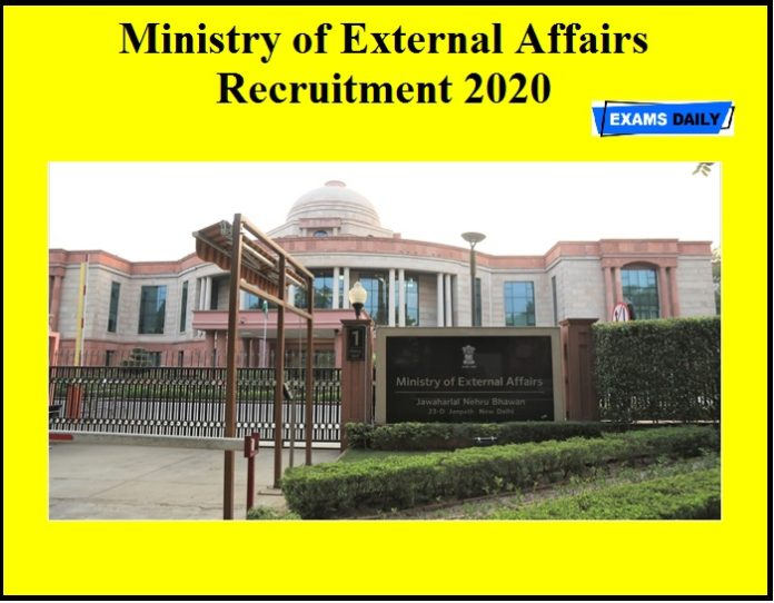Ministry of External Affairs Recruitment 2020 OUT