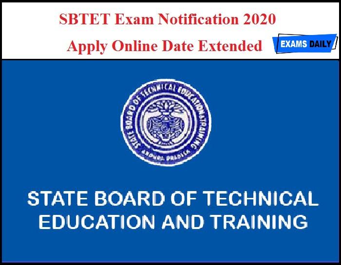 SBTET Exam Notification 2020 – Apply Online Date Extended