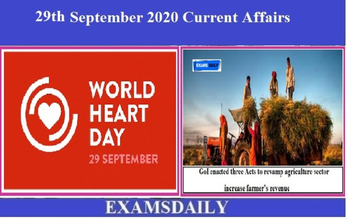 29th September 2020 Current Affairs