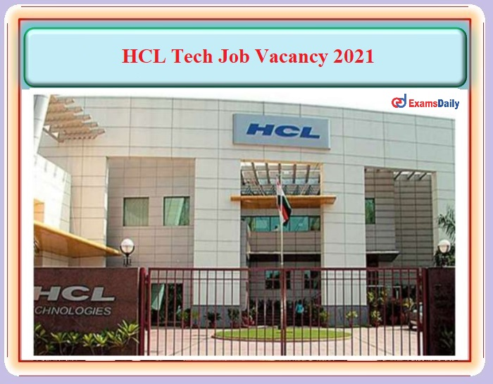 HCL Welcomes Engineering Graduates To be Filled for Senior Tester Post