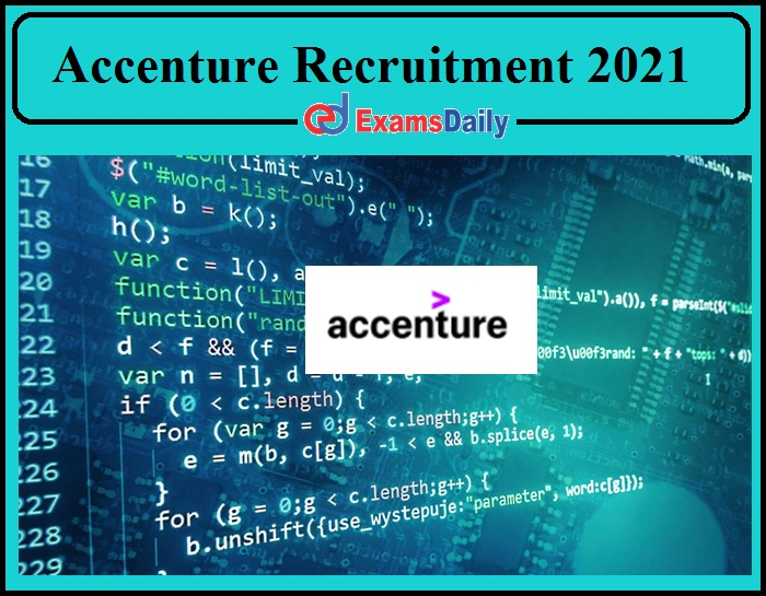 Job Vacancy 2021 in Leading Private Firm Accenture- Apply Now!!!