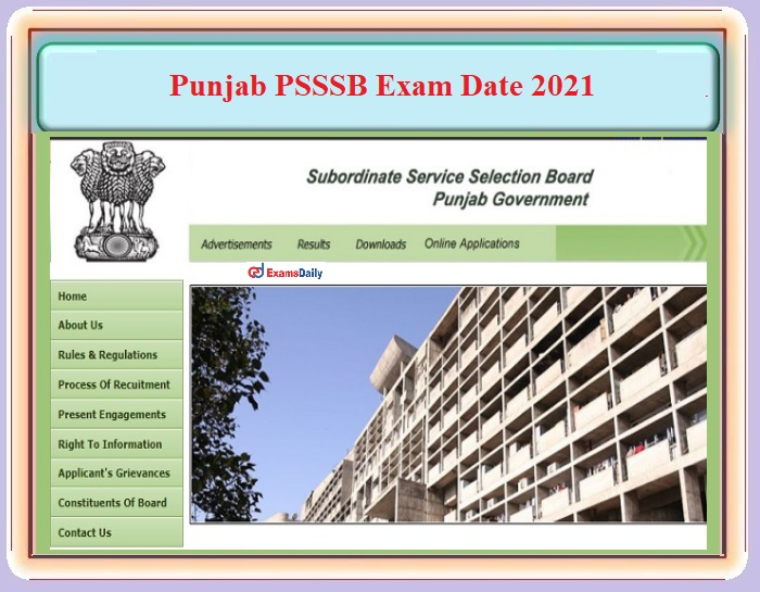 Punjab PSSSB Exam Date 2021 OUT – For Clerk (Legal), School Librarian and Technical Assistant Post - Download SSB Notice PDF Here!!!